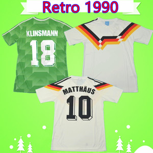 Germany soccer jersey RETRO maglia da calcio d'epoca Voller 1990 Klinsmann magliette di calcio a casa bianco verde assente Moller camiseta Matthaus Mill Kohler Maillot