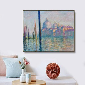 Gran Canal, Venecia por Monet Wall Pictures Posters Print Canvas Painting Calligraphy Decor Picture for Living Room Home Decor