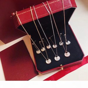 Luxury Classic Designer S925 Sterling Silver White Ceramic Amulet Round Pendant Necklace And Drop Earrings For Women Jewelry