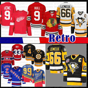 Hombre CCM 9 MENS Bobby Hull Chicago Mario Lemieux 66 Pittsburgh Penguins Hockey Jersey Blackhawks Gordie Howe Howe Detroit Red Wings Jerseys