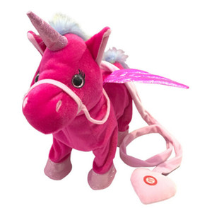 Hot sale mignon licorne Leash Flying Horse Doll Can Marche Can Sing électrique dragon cheval en peluche Poupée Pour Poni Licorne Cheval en peluche
