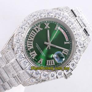 Melhor versão Oyster 228349RBR m228345 118348 Mens Automatic Assista Sapphire Roma digital de discagem Big Diamante Bisel Diamante Banda Designer relógios