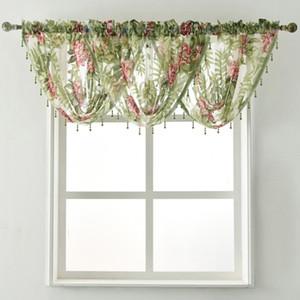 janela de design Valance Pelmet Cachoeira painéis talão tecidos tratamento da cortina transparente Floral tule Burnout frisada Sheer verde