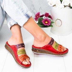 WENYUJH été femme Chaussons 2019 Rome Chaussures Casual Gros Bas Wedge Slip ouvert Toe sandales de plage sur les diapositives Femme