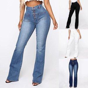 Fashion High Waist Denim Pants For Women Casual Ladies Pockets Jeans Spring Long Blue Denim Trouser Mujer Plus