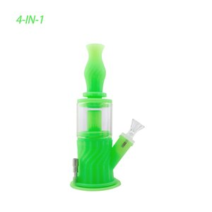Waxmaid 9.3 inches glass bongs hookah Multi Function 4 in 1 Honeycomb Silicone water pipe dab rigs comes with Nectar Collector for reatil ship from US local warehouse