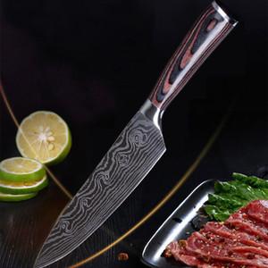 Meyve Sebze Et Keskin bıçak Profesyonel Şef Mutfak Aletleri Paslanmaz Çelik Şam Bıçak Narin Renk Ahşap Saplı Dilimleme VT0587