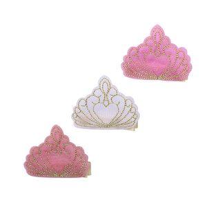 도매 부티크 15pcs 패션 귀여운 거즈 왕관 헤어핀 솔리드 반짝이 3D 크라운 헤어 클립 공주 Headware 헤어 액세서리