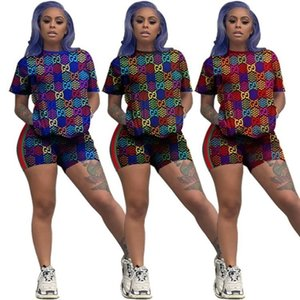 Designer Summer Short Two Piece Outfits Fashionable Cartoon Printing Tracksuit Women Short Sleeve T-Shirt Suits Clothes K565
