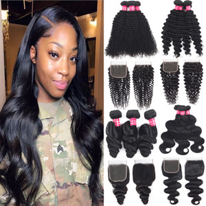 9A Brazilian Virgin Hair Bundles With Closures 4X4 Lace Closure Kinky Curly Deep Wave Water Wave Human Hair Weaves Bundles With Closure