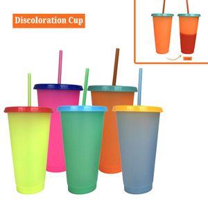 2020 Temperatura creativa 24oz 700ml di plastica Cambia Coppe colore fredda colore di acqua Cambiare Bottiglie tazza di caffè con cannucce Coperchio Estate