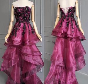 Nuovi vestiti da sera senza bretelle sexy senza spalline 2019 Lace Up Torna Hi Lo Prom Dress Nero che borda le donne abiti applique