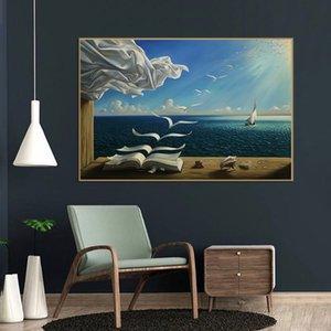 Salvador Dali aceite Pintura Pintura The Waves libro Velero de pared en los carteles lona e impresiones Arte de pared Imágenes de Decoración
