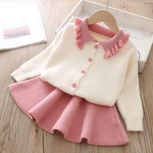 Девушка с длинным рукавом отворот свитер юбка Прекрасная принцесса 1-5 лет с длинным рукавом куртки. Короткая юбка Комплект детской одежды Детская одежда