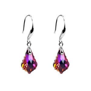 Diamant Cristal Boucles D'oreilles En Verre Pendentif De Noce Bijoux Cadeaux Haute Qualité Femmes Mode Maple Leaf Pendentif En Gros