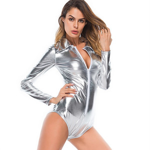 Women Wetlook Patent Leather Body Suit PVC Latex Catsuit Long sleeve hot Erotic Costume Sexy High Cut lingerie bodysuit Clubwear LY191222