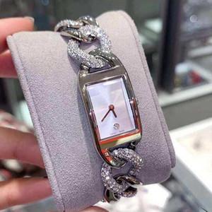 Señora vestido Lusso manera de los relojes de cuarzo de acero inoxidable Correa de oro Business Casual reloj de pulsera Relojes del dial del cuadrado del reloj del deporte del hombre 100
