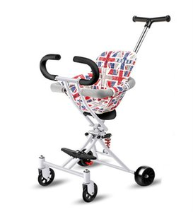 Tricycle bébé poussette pliant léger chariot à quatre roues pour enfants