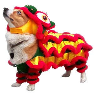 Traje chino mascotas divertida ropa para perros de Año Nuevo Escudo danza del león rojo festivo Lucky ropa para Teddy dragón danza del león del gato del perro