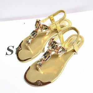 Summer womens sandals rhinestones rear wristbands with toe herringbone low to help flat shoes metalhead Flat shoes