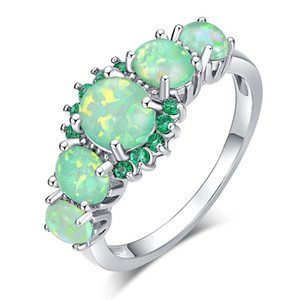 5 Colors Luxe Fire Opal Ring Silver Plated Oval Round Stone Finger Ring Blue Full Crystal Vintage Jewelry Gift for Women