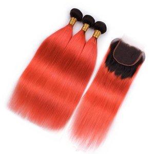Straight #1B Orange Ombre Virgin Brazilian Human Hair Bundles with Closure Ombre Orange 4x4 Lace Closure with Weaves 3 Bundle Deals
