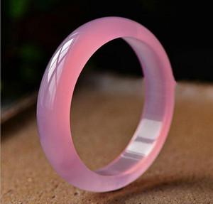 calcedonio naturale di semi di ibisco ghiaccio giada rosa braccialetto braccialetto di giada