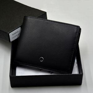 محفظة جلدية أصلية 100% أعلى محفظة فاخرة من طراز MB توسم محفظة بطاقة ائتمان لبطاقة Cowhide السوداء-محفظة ذات جودة عالية Msk-163 قلم حبر مكتوب