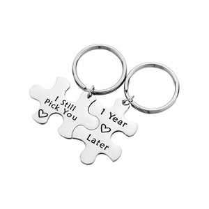 2pcs Pick You Puzzle Keychain Pendants Stainless Steel Gift for Women Men Lovers Couple Birthday Gift Personality Love Jewelry
