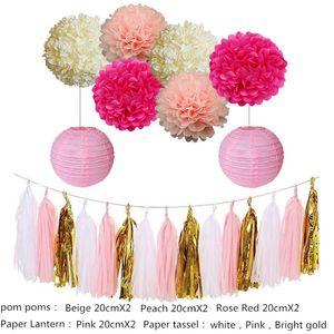 Eco-Friendly 12pcs mixte Rose blanche Parti tissu Pompons Lampion Honeycomb Fleur Boule de fête de naissance Anniversaire de mariage Décoration