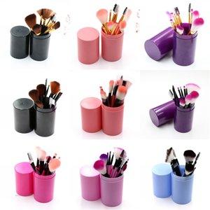 Nuovi colori solidi 12pcs pennelli trucco portatile rotonda della penna del supporto di spazzola cosmetici strumento in plastica Coppa Container