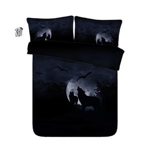 150x200cm Lobo 3D Dolphin gato papagaio elefante tubarão conjuntos de cama rainha capa de edredão natal de solteiro rei Cal King colchas de tamanho