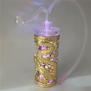 Double Dragon plástico LED de 4.3 pulgadas cachimba pipas de agua de perforación de petróleo Montado tuberías de agua fumar filtro portátil con tazón de aceite de 10 mm y la manguera