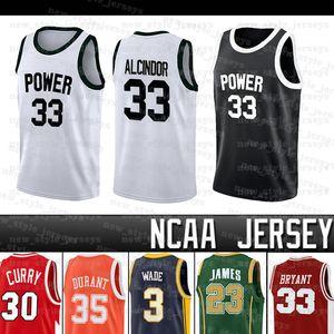 GÜÇ ANIT 33 LEW Alcindor Jersey LeBron Westbrook Stephen Dwyane Wade Curry Kevin James Durant kolej basketbol Formalar