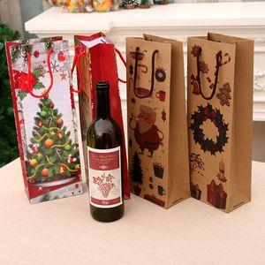 Gift Bag Natale Kraft Paper Bag Wine Bottle Bag Casa fornisce i regali di natale di favore di partito Borse Bottiglia di vino, carta di imballaggio LJJK1904