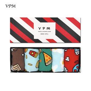 Vpm 21 Style Coloré Coton Peigné Marque Hommes Crew Chaussettes Robe Business Harajuku Chaussette Meilleur Cadeau 5 Paires / Lot MX190719