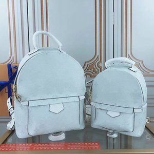 41562p140 white BACKPACK, Fashion Women Travel Backpack Mini School Bag, High Qualtiy Classic Canvas Leather man kids