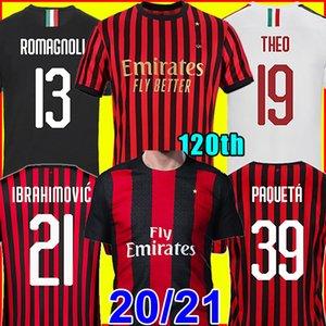 IBRAHIMOVIC AC Milan 20 21 camisa de futebol 2020 2021 PIATEK camisas de futebol PAQUETA THEO SUSO REBIC camisa de futebol maillot kit homens + crianças 120 anos 120 anos