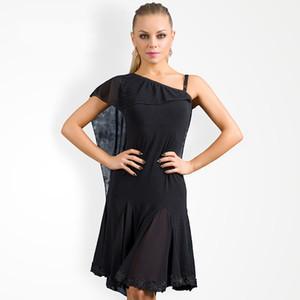 2019 Moderna Latina Concorrência Vestido Sexy Dividir Fios Net Vestido Para A Mulher Salão de Baile Salsa Prática Desgaste Estágio Dance Outfit DL4022