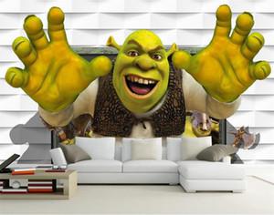 pegatina de tamaño personalizado 3d fotografía de fondo sala de estar cuarto de los niños mural monstruo Shrek 3D sofá de imagen de TV telón de fondo del papel pintado no tejido de la pared