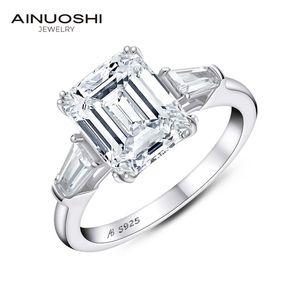 AINUOSHI Emerald Cut Engagement per le donne 3-pietra di nozze argento 925 Promise Ring Y200106