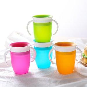 4 colores el bebé que aprende Beber Copa de silicona Trainer Copas infantil a prueba de fugas de agua de bebida botella niños Sippy Taza M1831