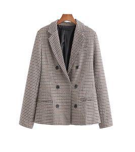 Trajes de mujer blazers vintage mujeres plaid blazer 2021 moda damas elegantes abrigos doble pechugas femenino chaqueta delgada muchachas chics