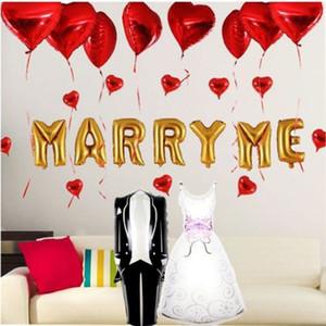 풍선 웨딩 파티 장식 생일 축하 신부와 신랑 신부 복장 알루미늄 풍선 웨딩 약혼 파티 장식