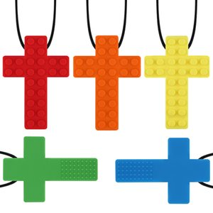 7 Farben-Baby-Silikon Beißring Brick Kreuz Anhänger Halskette weichen Schnuller Baby-Kauen Schnuller Chewlery Molaren Kleinkinder Spielzeug Geschenke M1139