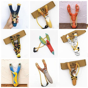 Handgefertigte Holz Schleuder Vogel Piraten-Cartoon-Tier Cartoon Sling Tier Printed Elastic Slingkind-Geburtstags-Party-Geschenk WY500Q