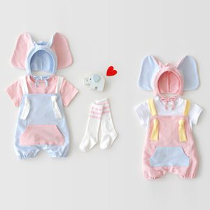 kids Romper 2019 INS Summer New Styles Baby Kids Sleeveless Sling High Quality Cotton Romper+Lovely Elephant Ear Hat kids sets 2 Colors