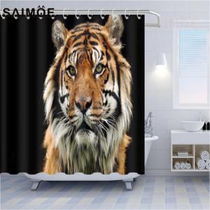 야생 동물 샤워 커튼 타이거 기린 곰 표범 동물 인쇄 욕실 커튼 세트 귀여운 새끼 고양이 패턴 욕실 샤워 커튼