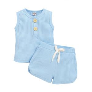 Bébés filles Costume solide Bouton bébé manches Hauts enfants Vêtements Casual Garçons Tenues Boutique élastiques Shorts Roupas de bebê Brésil 060518