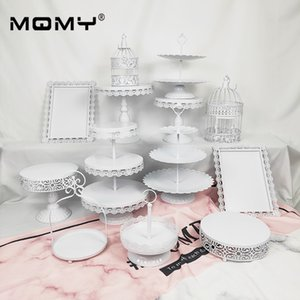 13 Pcs Wedding Set Dessert Metal 3 Tier Wholesale Crystal Vintage White Pink Round Birdcage Cake Stand